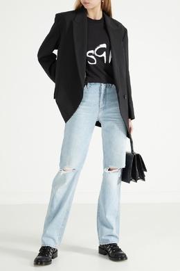 Черная футболка с принтом Spray Logo MSGM 296156302