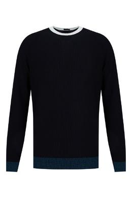 Темно-синий джемпер с контрастной отделкой Boss 1166156703
