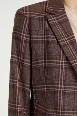 Коричневый клетчатый пиджак Max Mara 1947156894