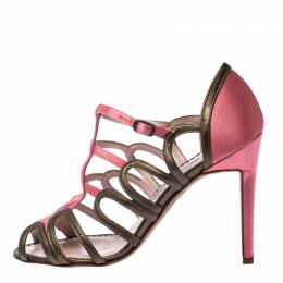 Manolo Blahnik Satin And Leather Cut Out Strappy Sandals Size 36