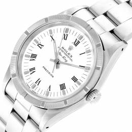 Rolex White and Stainless Steel Air King 14010 Men's Wristwatch 34MM 232808