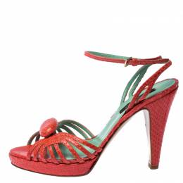 Sergio Rossi Pink Python Leather Ankle Strap Platform Sandals Size 37