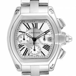 Cartier White Stainless Steel Roadster Chronograph W62019X6 Men's Wriswatch 49x43 MM 232668