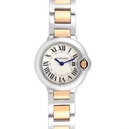 Cartier White 18K Yellow Gold Stainless Steel Ballon Blue W69007Z3 Women's Wriswatch 29 MM 232660
