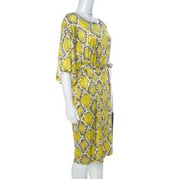 Roberto Cavalli Class Yellow Snake Print Silk Jersey Short Sleeve Belted Dress L 232273