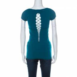 Versace Collection Teal Blue Stretch Jersey Bodycon Top L 229249