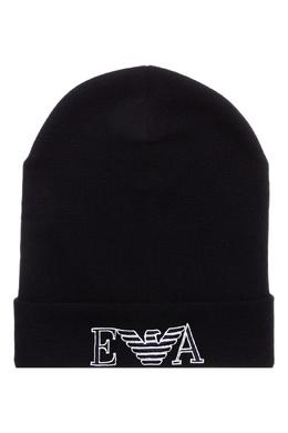 Черная шапка-бини с логотипом на отвороте Emporio Armani 2706154136
