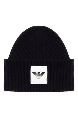 Темно-синяя шапка-бини с логотипом Emporio Armani 2706154121