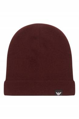 Базовая бордовая шапка-бини Emporio Armani 2706154128