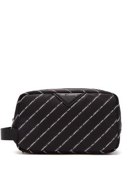 Черная косметичка с отделкой в полоску Karl Lagerfeld 682157106