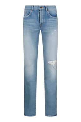 Голубые джинсы с декором Saint Laurent 1531157065