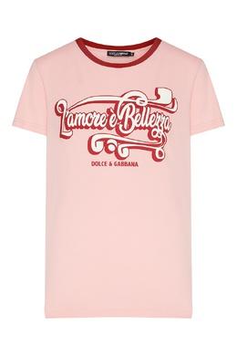 Розовая футболка с надписью Dolce&Gabbana 599157111