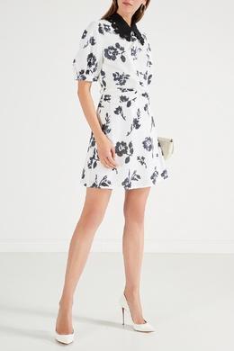 Белое платье с контрастным воротником Self-portrait 532157156