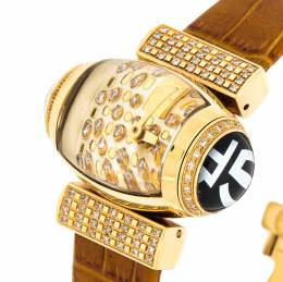 Gianfranco Ferre Gold Plated Diamonds Studded Oval GF 9009L Women's Wristwatch 35.50 mm 233379