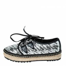 Dior Metallic Silver/Black Leather Espadrille Lace Up Sneakers Size 36 231901