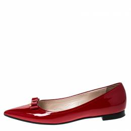 Prada Red Patent Leather Bow Pointed Toe Ballet Flats Size 38