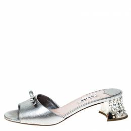 Miu Miu Silver Leather Bow Open Toe Crystal Embellished Heel Sandals Size 39