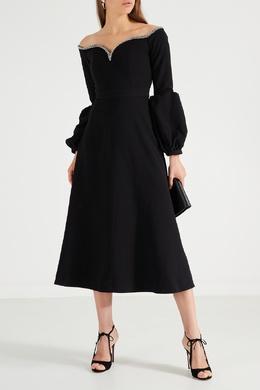 Черное платье с серебристой отделкой Self-portrait 532156945
