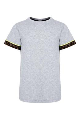 Серая футболка с декором на рукавах Fendi Kids 690157158