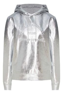 Серебристое металлизированное худи с логотипом Karl Lagerfeld 682156995