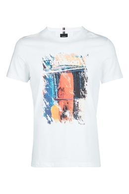 Белая хлопковая футболка с принтом Strellson 585157886
