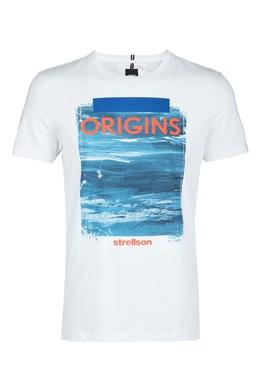 Белая футболка с принтом Strellson 585157883