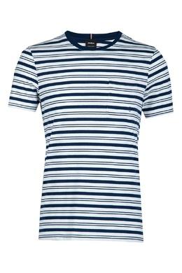 Синяя хлопковая футболка в полоску Strellson 585157896