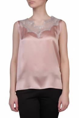 Светло-розовая атласная блуза с кружевом Escada Sport 2819157640