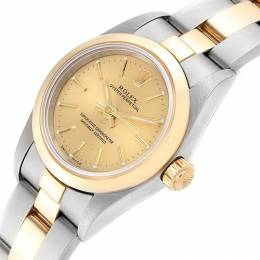 Rolex Champagne 18K Yellow Gold And Stainless Steel Oyster Perpetual 76183 Women's Wristwatch 24 MM 233568