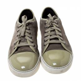 Lanvin Olive Green Suede and Patent Leather Lace Low Top Sneakers Size 42 233795