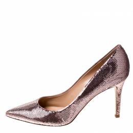 Gianvito Rossi Pink Metallic Sequins Gianvito Pointed Toe Pumps Size 41