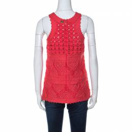 Cavalli Class Coral Red Cord Lace Embroidered Sleeveless Top M Roberto Cavalli Class 233781