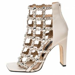 Sergio Rossi Beige Leather Embellished Cut Out Sandals Size 39 234465