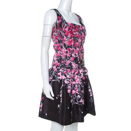 Red Valentino Black Floral Print Taffeta Pleated Waist Short Dress L 234480