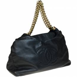Chanel Black Leather Chain Tote Bag 233656