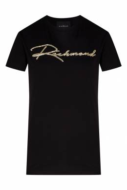 Черная хлопковая футболка John Richmond 2678157383