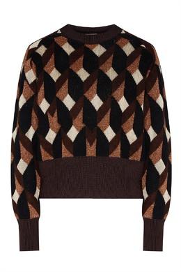Коричневый свитер с геометрическими узорами Boss 1166158026