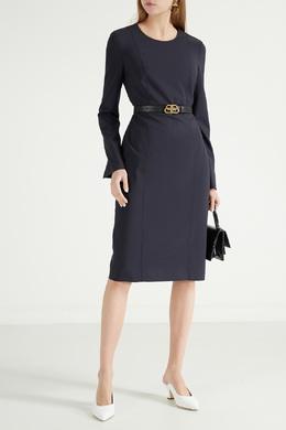Темно-синее платье с длинными рукавами Boss 1166158032