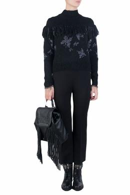 Черный свитер с серебристым узором Patrizia Pepe 1748158300