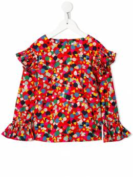 Stella McCartney Kids блузка с оборками и принтом 566907SNK206462