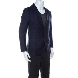 Z Zegna Tuttoritorto Navy Blue Wool and Silk Blend Regular Fit Blazer M