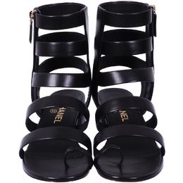 Chanel Black Leather CC Gladiator Sandals Size 40.5 234878