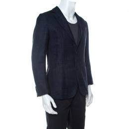 Z Zegna Navy Blue Wool and Cotton Woven Blazer S