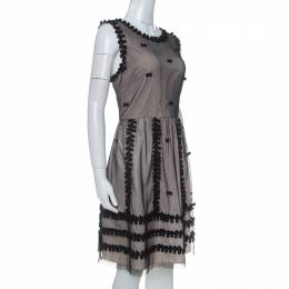 Red Valentino Beige Crepe and Taffeta Contrast Lace Overlay Dress L 234469