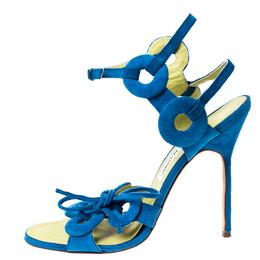 Manolo Blahnik Blue Cutout Suede Ankle Strap Sandals Size 39