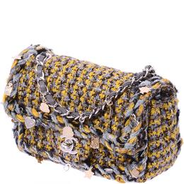 Chanel Grey & Yellow Small Tweed Braid Charms Flap Bag 234899