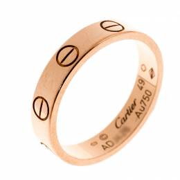 Cartier Love 18k Rose Gold Mini Band Ring Size 49 228449