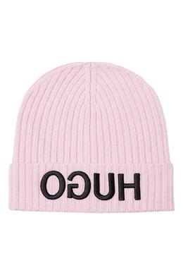 Розовая шапка с перевернутым логотипом Hugo Boss 622157743