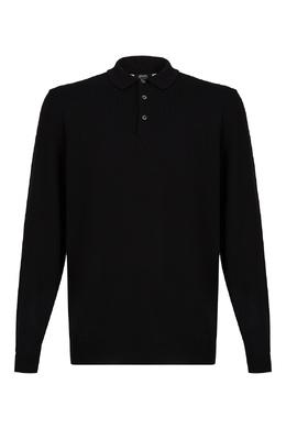 Черное поло с длинными рукавами Boss 1166158209