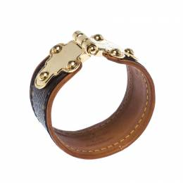 Louis Vuitton Save It Brown Monogram Canvas Gold Tone Wide Cuff Bracelet